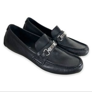 Cole HAAN  Provincetown Black Pebbled Leather Loafers Driving Shoes